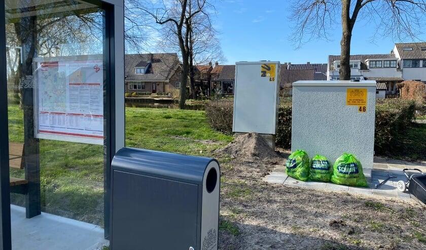 <p>Een van de vele plekken waar zwerfvuil werd opgeruimd: bij de bushalte Heeswijkerpoort in Montfoort.&nbsp;</p>