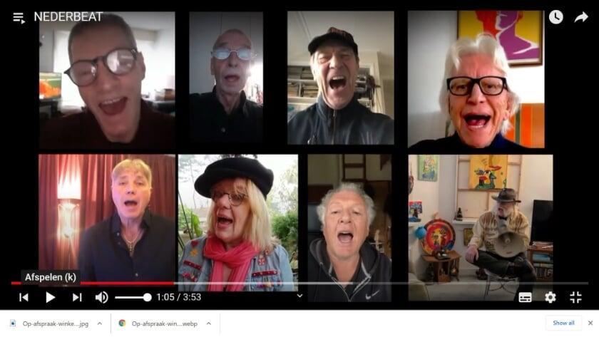 <p>Beroemde Haagse popmuzikanten zingen het lied Nederbeat mee met Victor R. Meijer. (Foto: printscreen YouTube)</p>