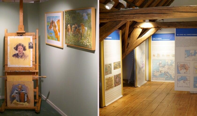 <p>Links werken van Ren&eacute; Kinket, rechts de groeisteden uit de late Middeleeuwen, zoals Hattem. (Foto: Voerman Museum Hattem)</p>