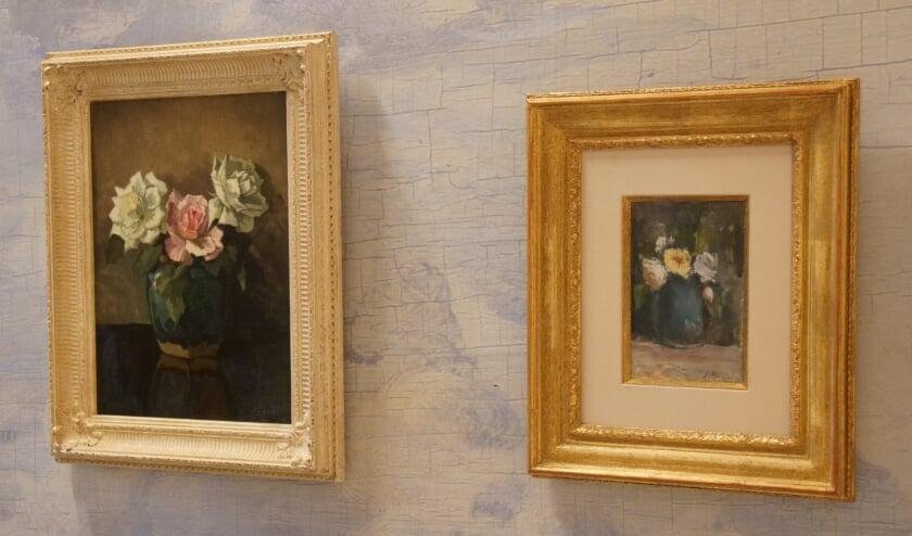 <p>De nieuwe &lsquo;seniors&rsquo;, links de gemberpot met rozen en rechts het aquarel met bloemen in een pot.</p>