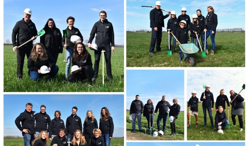 De zes families en initiatiefnemers van Windpark Den Tol: (v.l.n.r) Fam. Braam, Fam. Geuijen, Fam. Simmes, Fam. Hettinga, Fam. Keuper en Fam. Giesen.