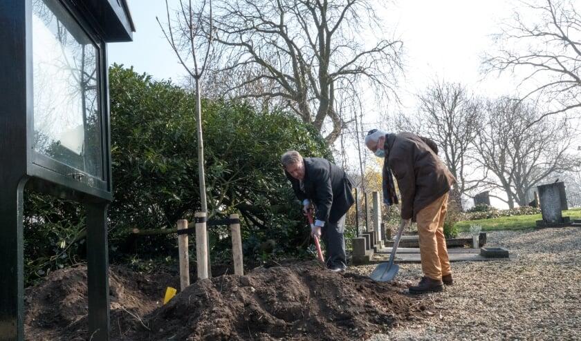 <p>Wethouder Bragt en Louis Stranders planten samen de directe afstamming van de Anne Frankboom op de Begraafplaats Bossche Poort.</p>