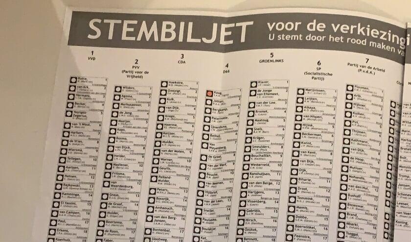 <p>Het stembiljet van de Tweede Kamerverkiezingen van 17 maart.</p>