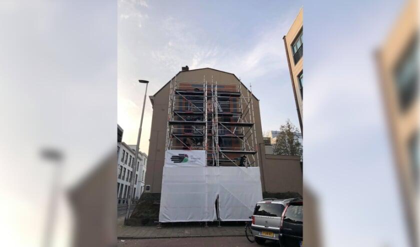 <p>Het nog ingepakte pand aan Utrechtsestraat 54 in Arnhem. &nbsp;</p>