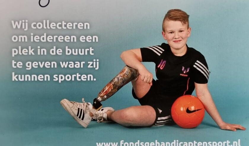 Briefkaart van collecte Fonds Gehandicaptensport