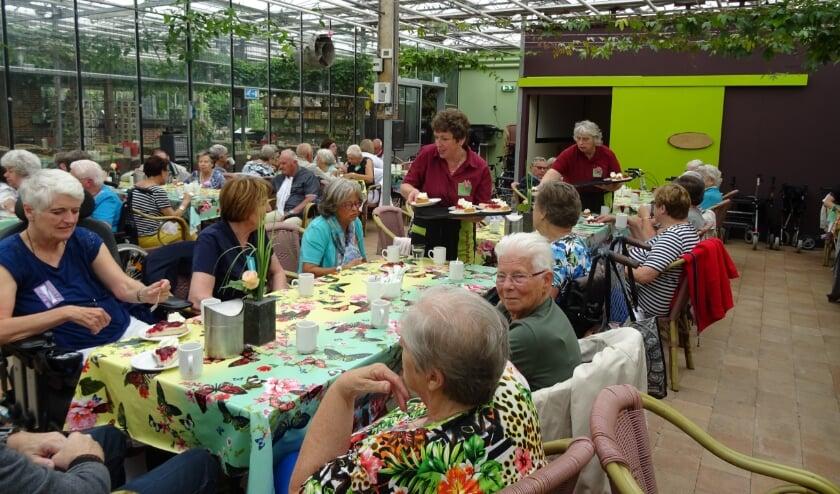 """<p>""""Gasten en vrijwilligers van de Zonnebloem op bezoek in de vlindertuinen van de Passiflora in Harskamp, waar de dag werd begonnen met een heerlijk kopje koffie met gebak.</p>"""
