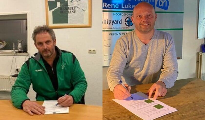 <p>Teus Jacobs en Andr&eacute; Quint tekenen bij VV Musketiers.</p>