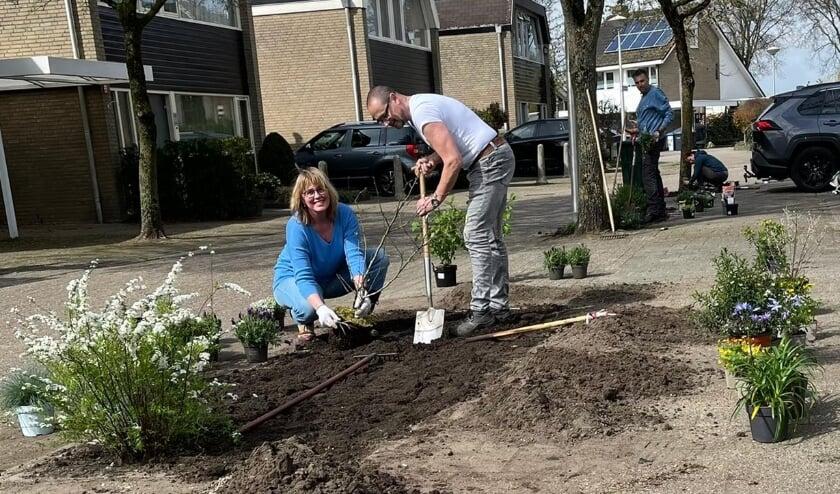 <p>Everine Ykema poot de planten en bloemen in de nieuwe groenvakken in de Slingerbeek.</p>