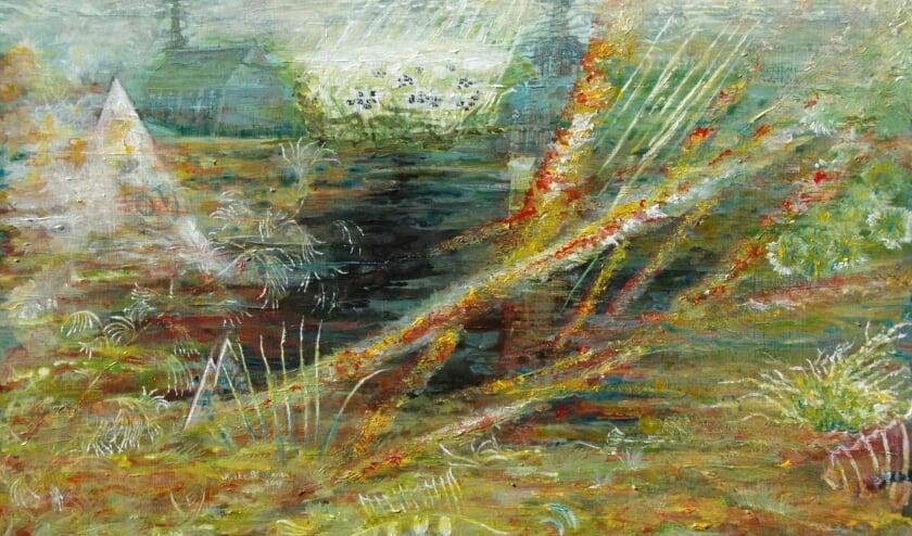 <p>Een deel van het schilderij Moerasplas van Myrthe Banen. Zij exposeert ook komende zomer.</p>