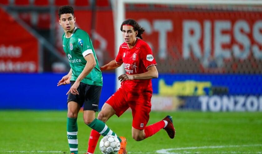 <p>Samir Lagsir tijdens zijn debuut in de wedstrijd tegen FC Twente, eind oktober.</p>