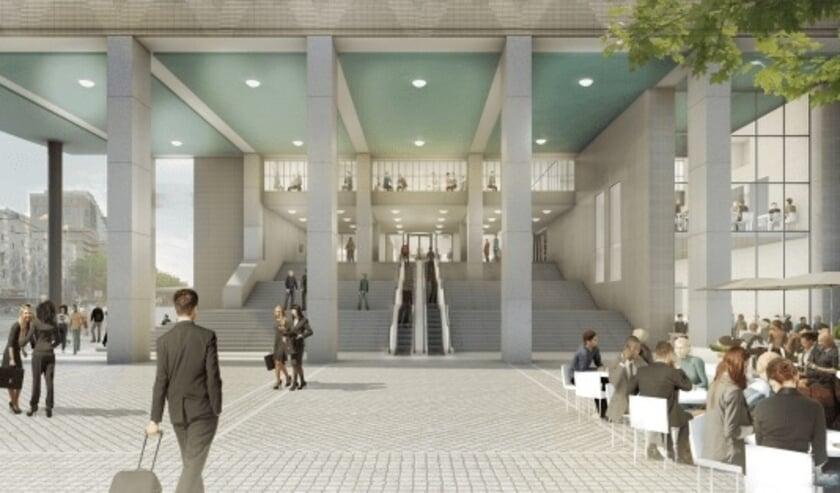 <p>Artist impression van de vernieuwde hoofdentree van WTC Rotterdam.&nbsp;</p>