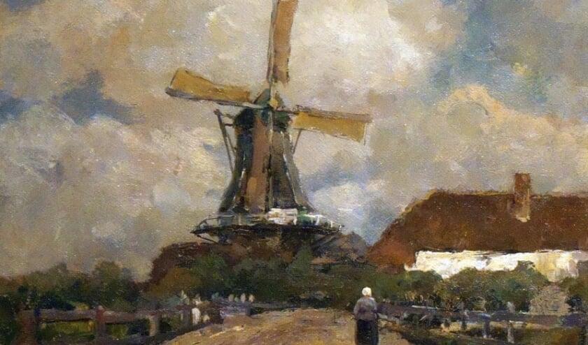 """<p class=""""Fotobijschrift"""" pstyle=""""Fotobijschrift"""">Een fragment van het dorpsgezicht met de molen van Hattem. Nu te zien in de Zicht op Hattem-zaal.&nbsp;</p>"""