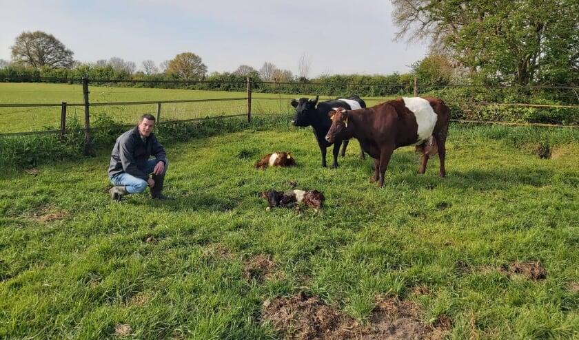 <p>Boer Jack de Wilt bij pasgeboren stiertje Bob. Het Lakenveldervlees van zijn boerderij is sinds kort ook te bestellen op BestelBoer Bommelerwaard.</p>