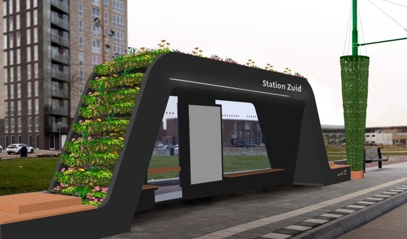 <p>Zo komt de bushalte eruit te zien als deze helemaal gereed is en het groen op het dak groeit.&nbsp;</p>