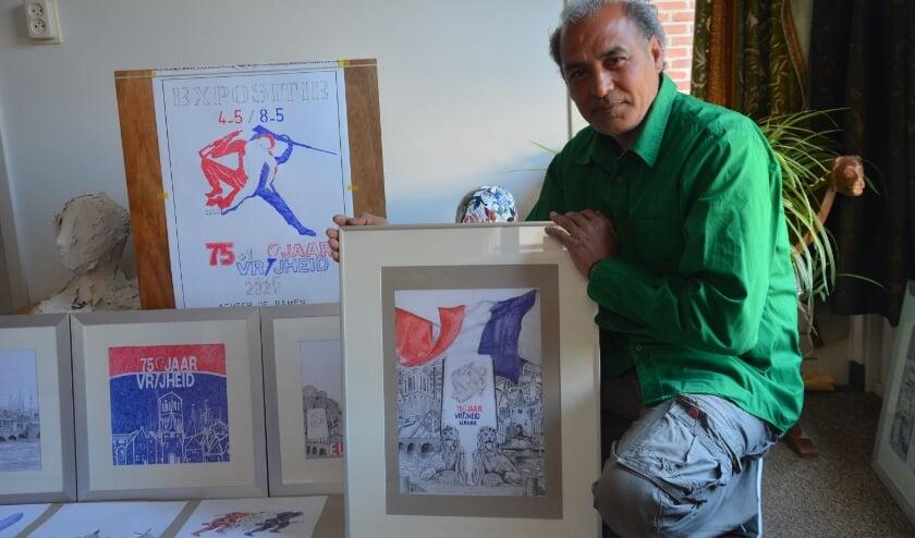 <p>Fadel Jawad te midden van zijn werkstukken. (foto: Dick van der Veen)&nbsp;</p>