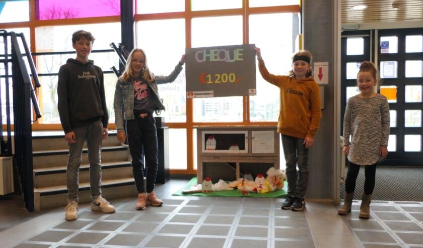 <p>: Marcus, Sarah, Merlijn en Lieke van de leerlingenraad.</p>