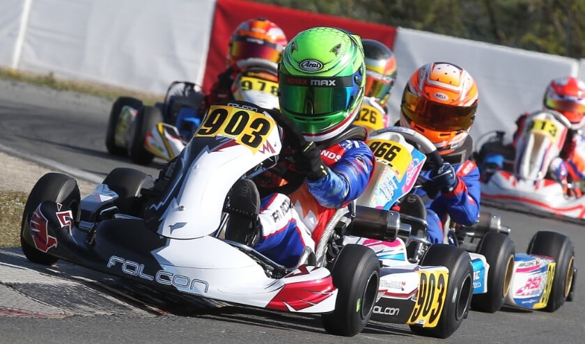 <p>Nadat hij in de heats had kunnen wennen aan het racen in een IAME-kampioenschap, had Mats in de finale een goede start. Eigen foto</p>