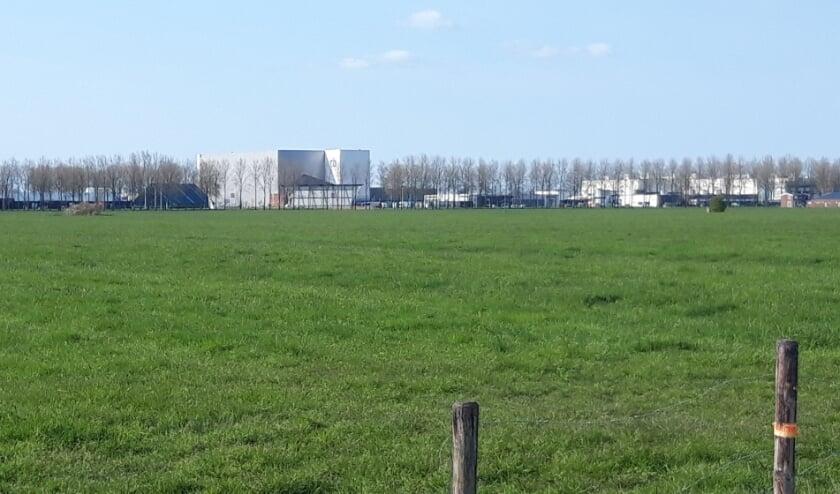 <p>Zicht op bedrijventerrein Pavijen over het geprojecteerde windpark: vooral grasland.</p>