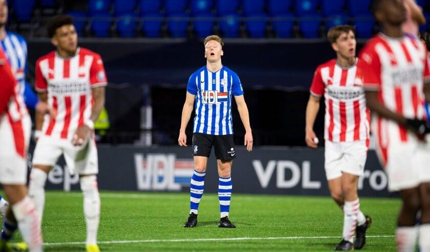 <p>Brian De Keersmaecke baalt na een gemiste kans. (Foto: Johan Manders)</p>