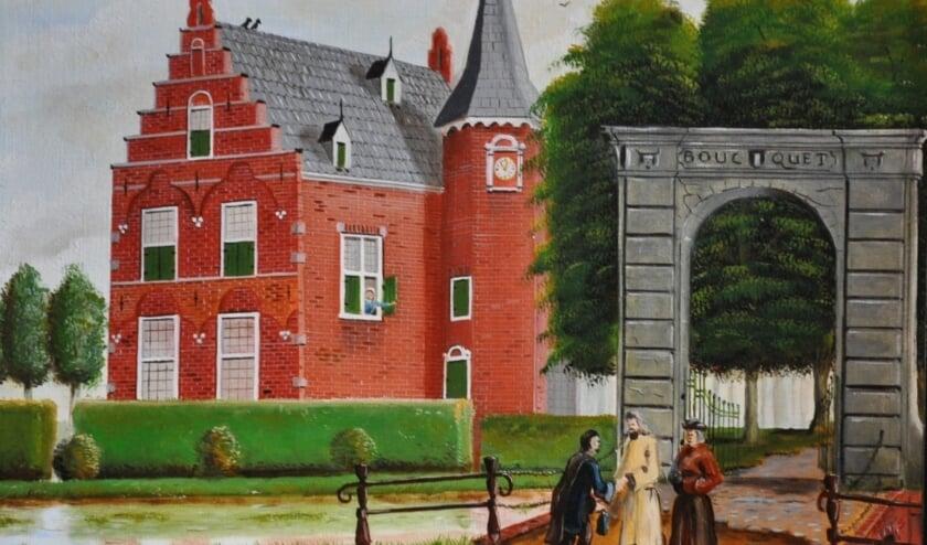 <p>Dit schilderij van het Huys te Boucquet laat duidelijk de Dordtse trapgevel zien.</p>