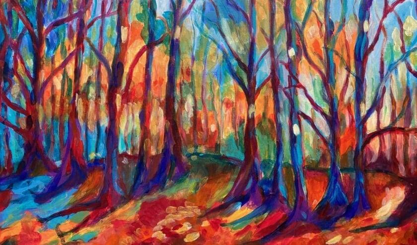 <p>Er hangen onder meer kleurrijke acrylschilderijen van Joyce Immig in de etalage. Eigen foto</p>