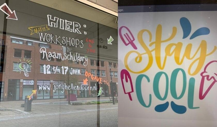 <p>Op een van de ramen heeft Angelie Heuver al een aankondiging geschreven, rechts een voorbeeld van wat het kan worden.</p>