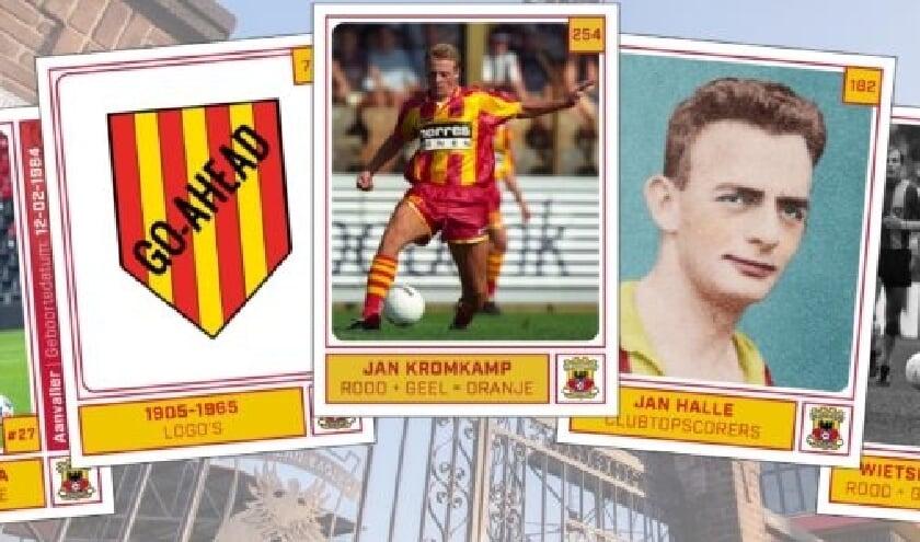 <p>Jan Kromkamp (in het midden) heeft plaatje 254 in het Go Ahead Eagles Voetbalplaatjesalbum. 'Dat ik in dit album sta, is alleen maar bijzonder.'</p>
