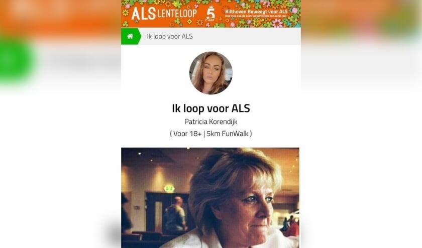 <p>Patricia Korendijk loopt elke dag 5 km om geld op te halen voor onderzoek naar de ziekte ALS.</p>