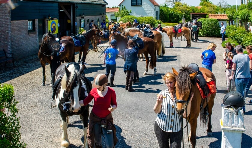 <p>Vrolijke taferelen tijdens de Pannenkoek-Paarden-Rit van de Recreatie Ruiters Zeeuws-Vlaanderen afgelopen weekend</p>