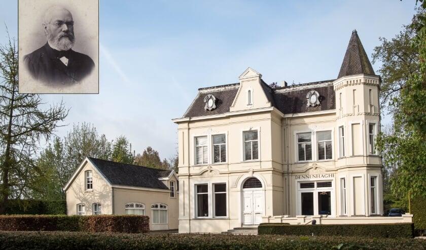 <p>(Inzet, gespiegeld): Caspar Houben (1823-1899), de eerste eigenaar van Dennenhaghe.</p>
