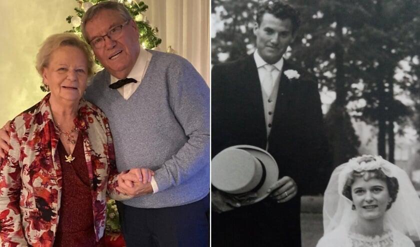<p>Links: een recente foto van Chris en Riet Bakkes. Rechts: trouwfoto van het verliefde stel.</p>