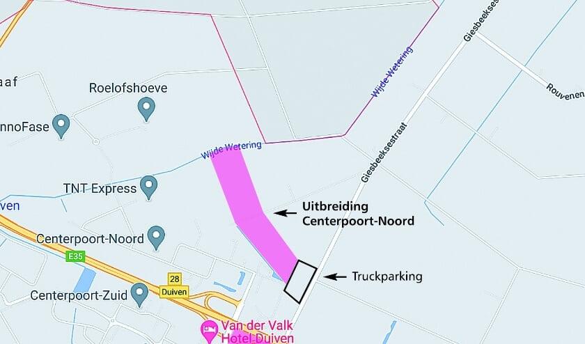 <p>De locatie waar de gemeente Duiven bedrijventerrein Centerpoort-Noord graag wil uitbreiden.</p>