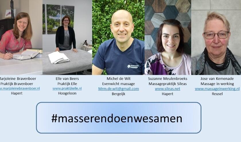 <p>Diverse praktijken in de Kempen doen mee aan de actie #masserendoenwesamen.&nbsp;</p>