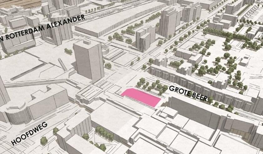 plattegrond met locatie woningbouwplan Grote Beer