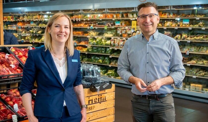 """Ondernemer Ivo Matteeuws en supermarktmanager Eveline Gelschelfhout: """"Albert Heijn XL Hulst gaat open op 29 juni."""""""
