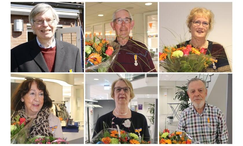<p>Boven v.l.n.r.: Paul Hendrikx, Henk Evers en Jannie Arends. Onder v.l.n.r.: Tineke Beumer, Ans Karsten en Ton Jansen,</p>