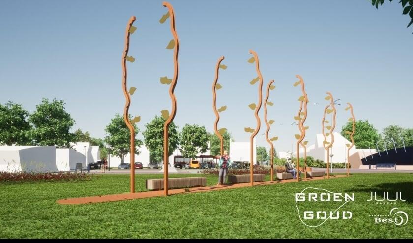 <p>Art impression van het kunstwerk &#39;Groen Goud&#39; dat op 8 juni bij het station in Best wordt geplaatst.</p>