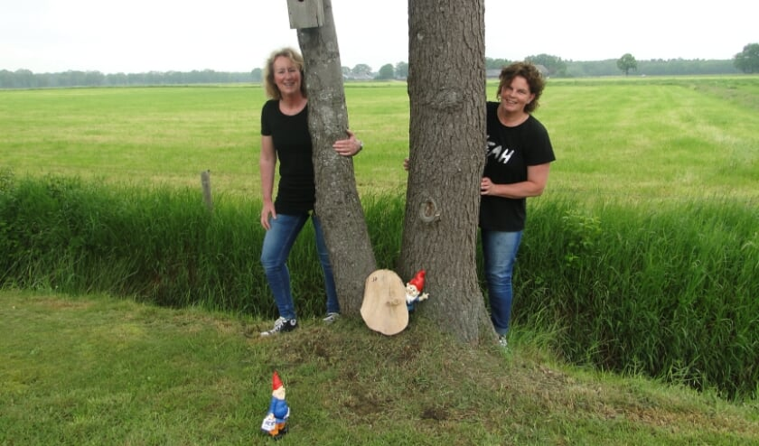 <p>Jolanda Kemper (links) en Monique ten Dam bij een kabouter aan de&nbsp; Valeweg.&nbsp;</p>