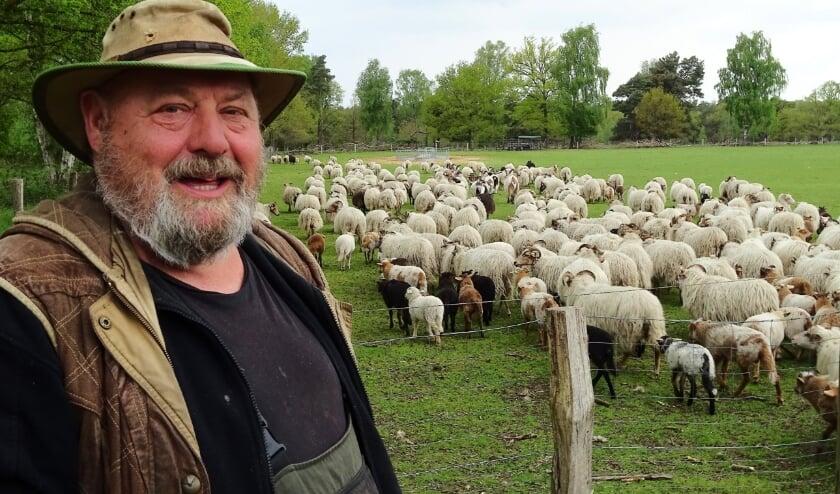 <p>Schaapherder Jos Duurland bij zijn kudde&nbsp;</p>