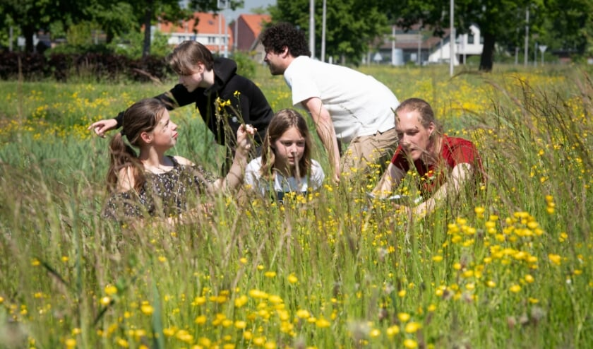 <p>Ludo Kuijsters (rood shirt) met Manoe (links), Thommy en Denise. (foto William Hoogteyling)</p>