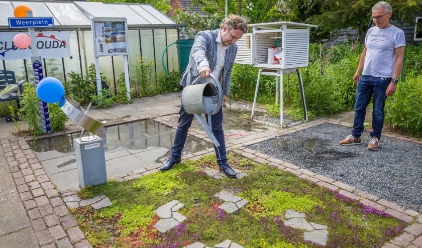 <p>Pieter Verhoeve mocht zelf een vergelijkende test doen van vier typen verharding , vari&euml;rend van tegels tot en met sedum. Foto Bert van Dijk</p>