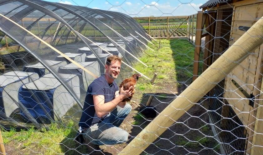 <p>Onderzoeker Jeroen van der Meij is blij met zijn kippen in verband met taxuskeveronderzoek.</p>